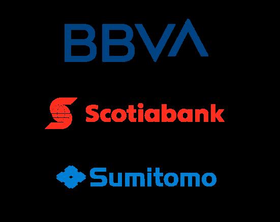 Logos de clientes de industria financiera BBVA Scotiabank Sumitomo