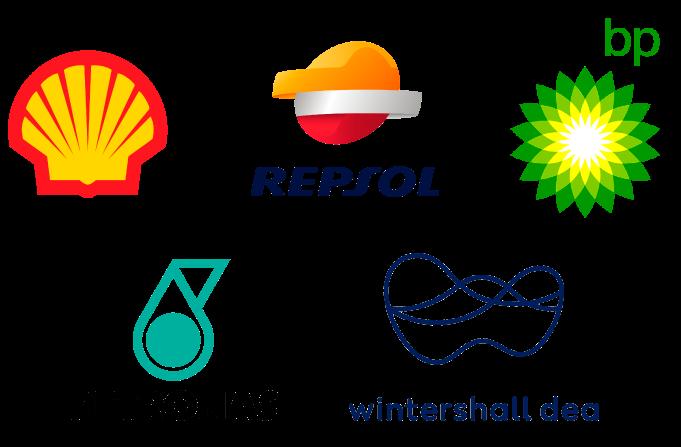 Logos de clientes de industria energetica Repsol bp Petronas Wintershall dea